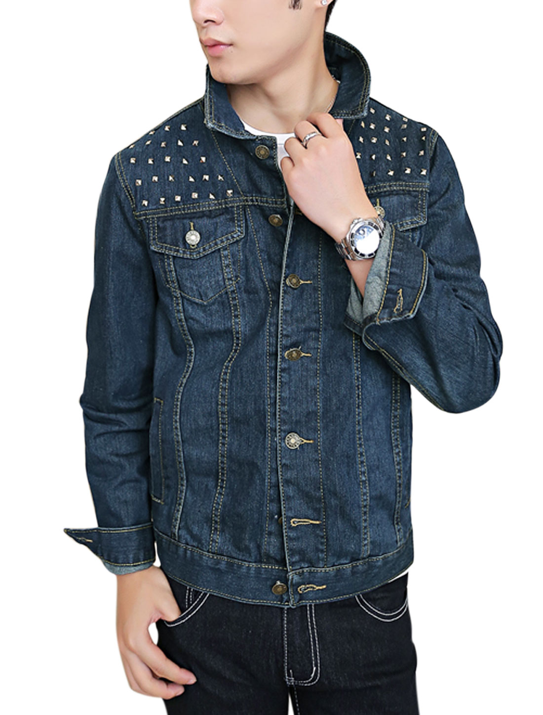 Men Signle Breasted Double Slant Pocket Front Stylish Jean Jacket Dark Blue M