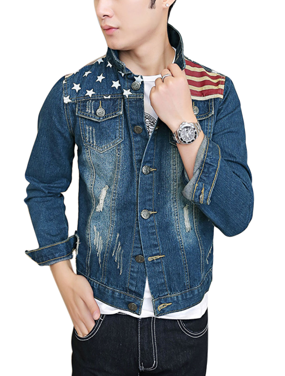 Men Point Collar Signle Breasted Stars Stripes Pattern Casual Jean Jacket Dark Blue M