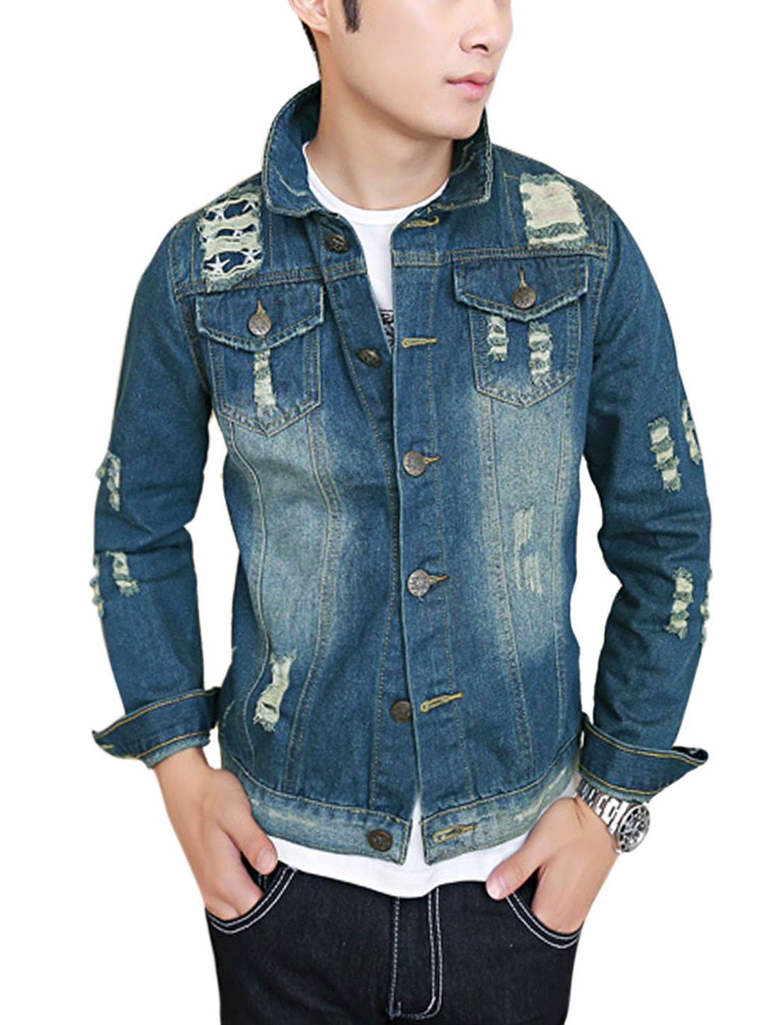 Men Point Collar Signle Breasted Destryed Design Casual Jean Jacket Dark Blue M
