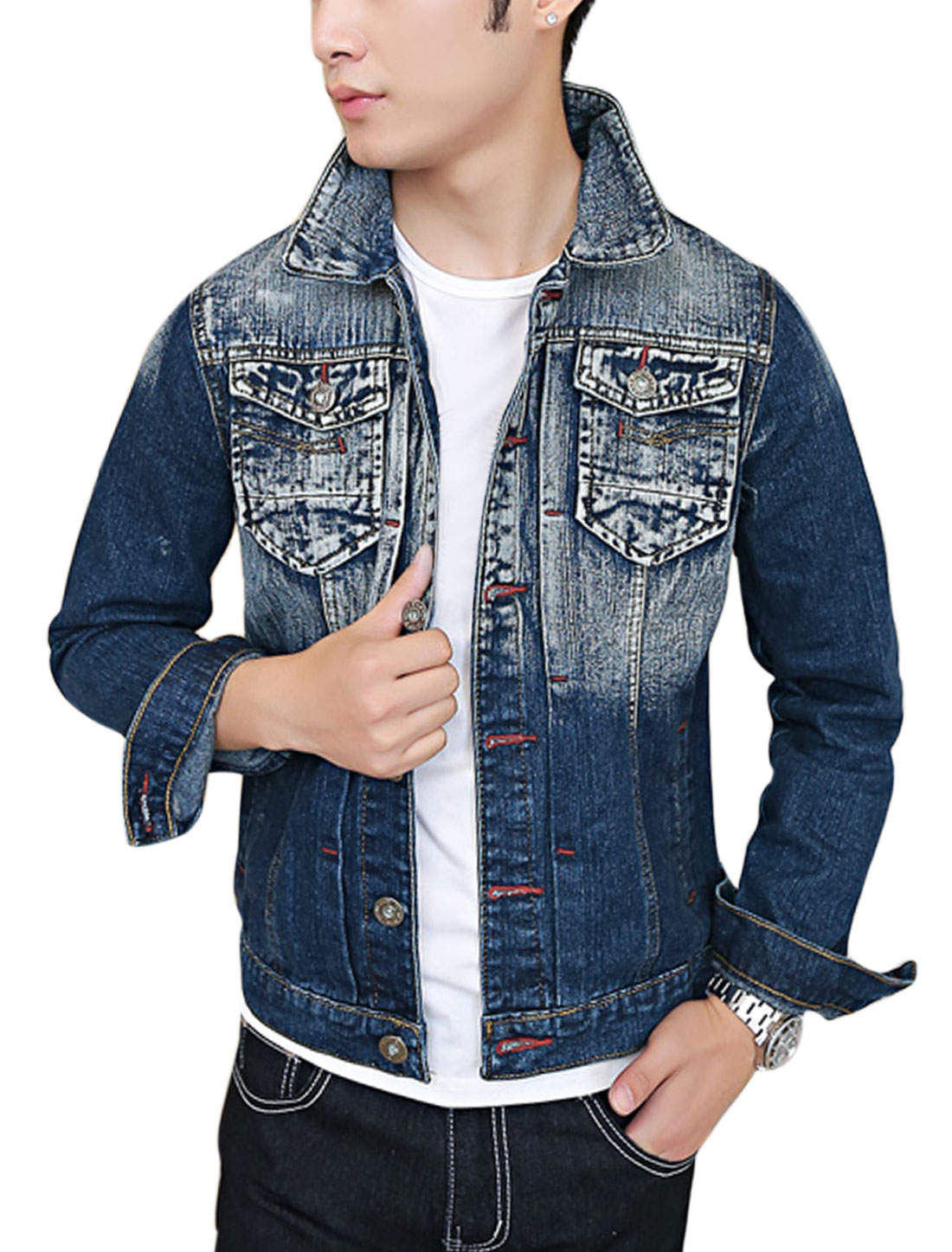 Men Signle Breasted Studs Embellished Decor Stylish Jean Jacket Dark Blue M