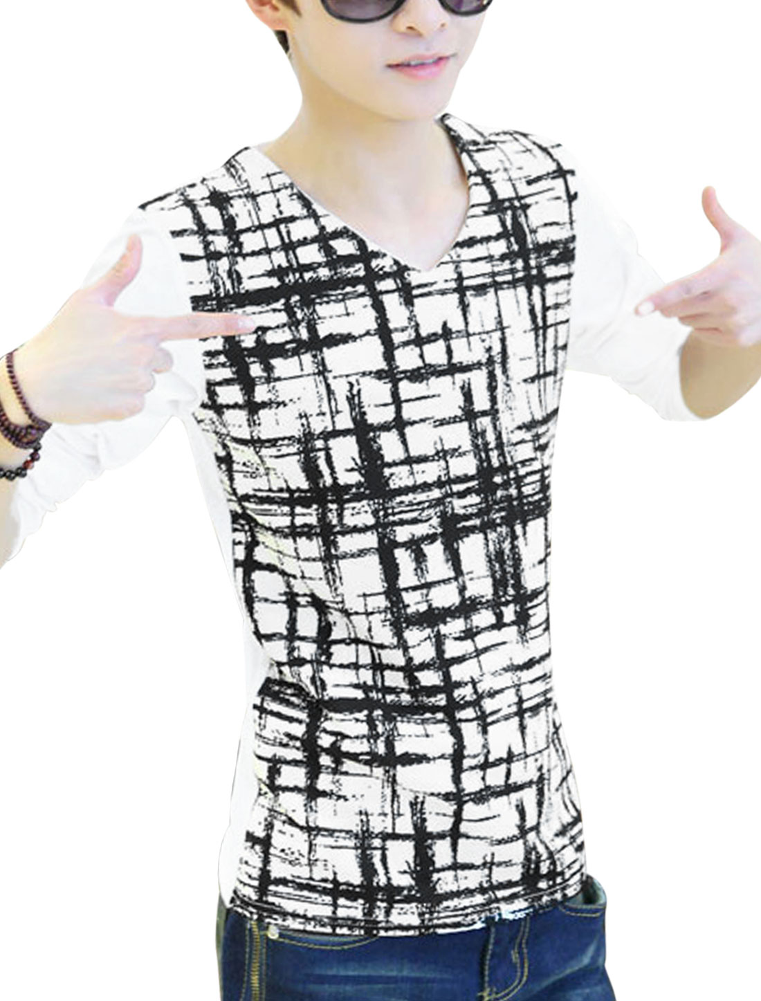 Men V Neck Check Pattern Contrast Splicing Design Casual T-Shirt White S