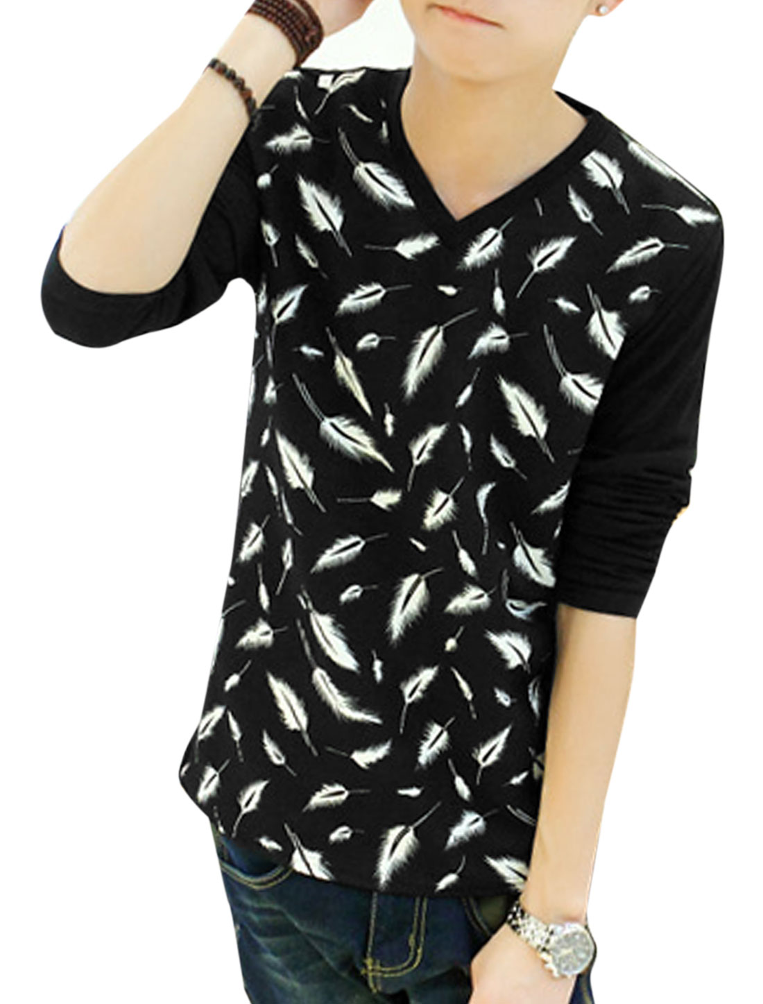 Men Feather Print Contrast Splicing Design Casual T-Shirt Black S