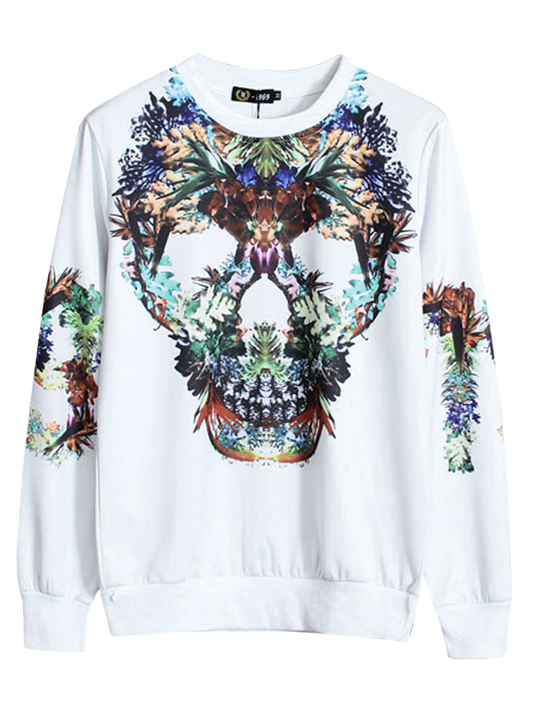 Men Round Neck Long Sleeve Floral Skull Prints Sweatshirt White M