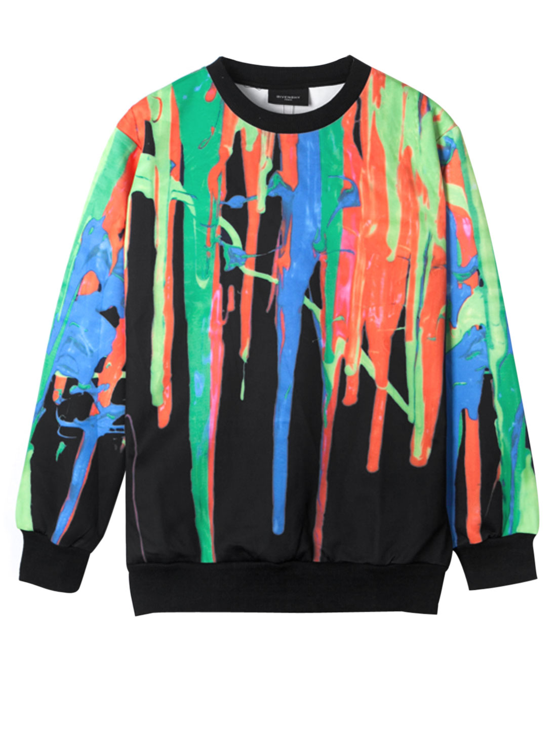 Men Round Neck Novelty Prints Long Sleeve Ribbed Hem Sweatshirt Multicolor M