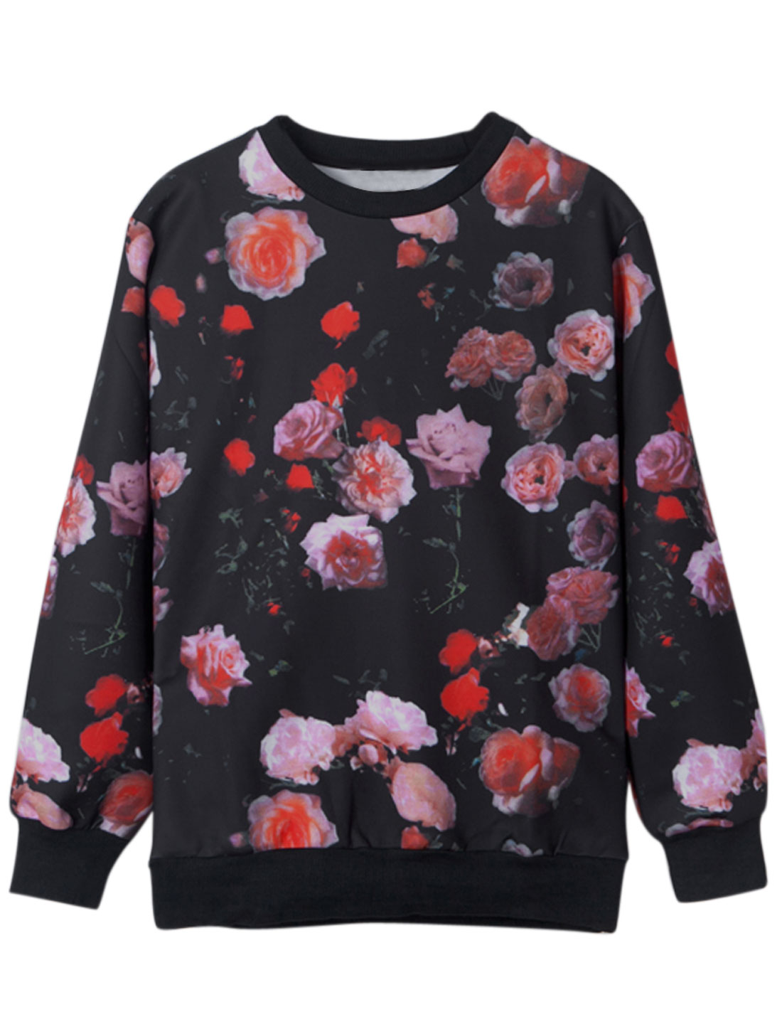 Men Ribbed Trim All Over Flower Print Casual Sweatshirt Black M