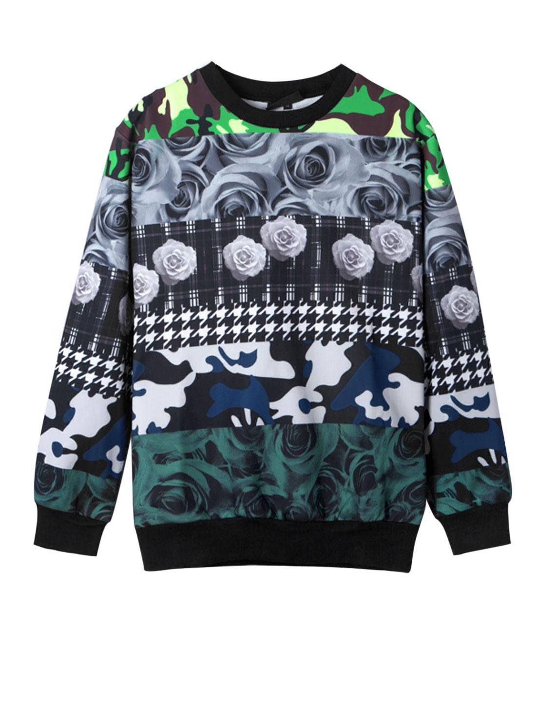 Men Ribbed Trim Rose Camo Print All Over Print Casual Sweatshirt Multicolor M