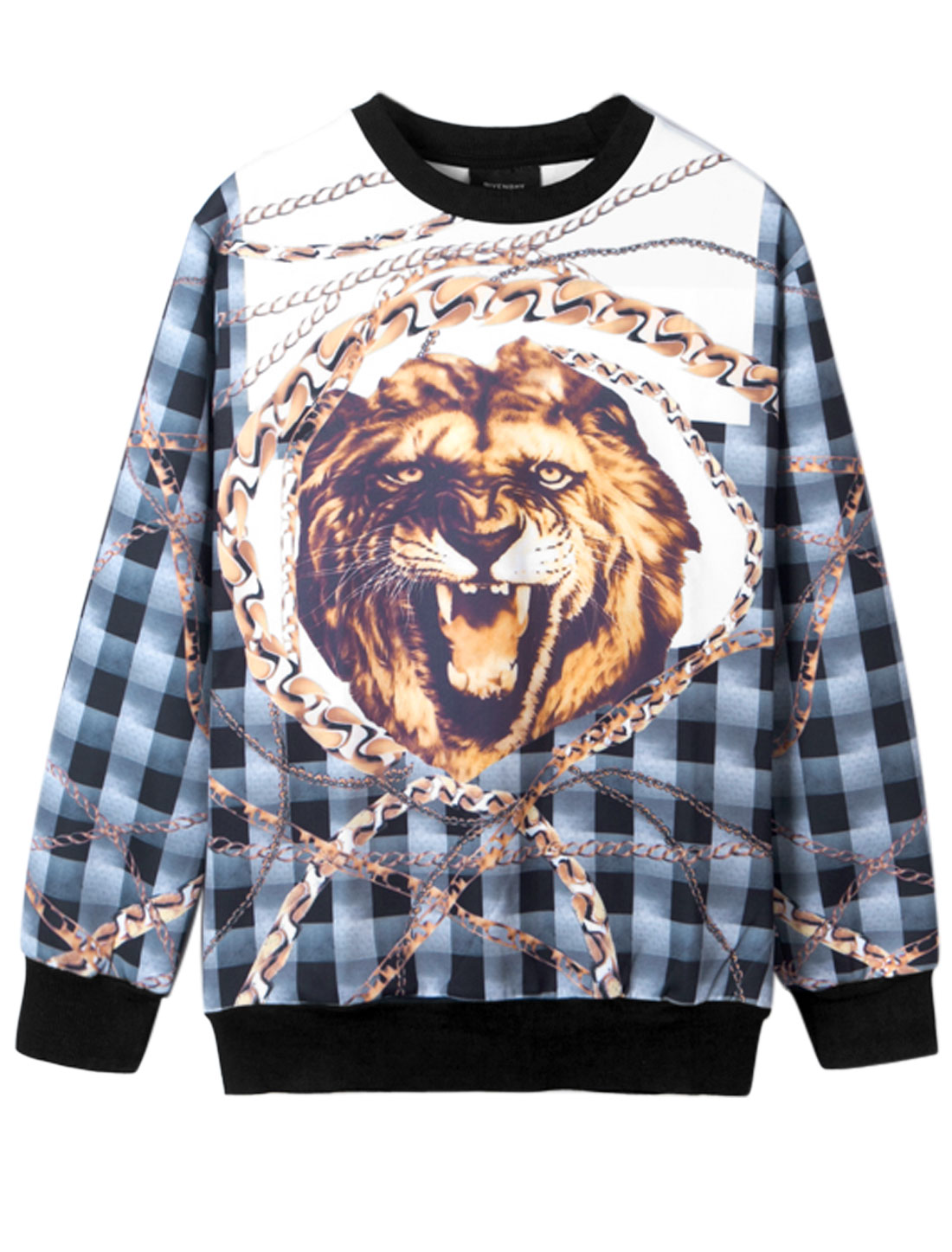 Men Round Neck Lion Head Chain Plaids Prints Sweatshirt Multicolor M