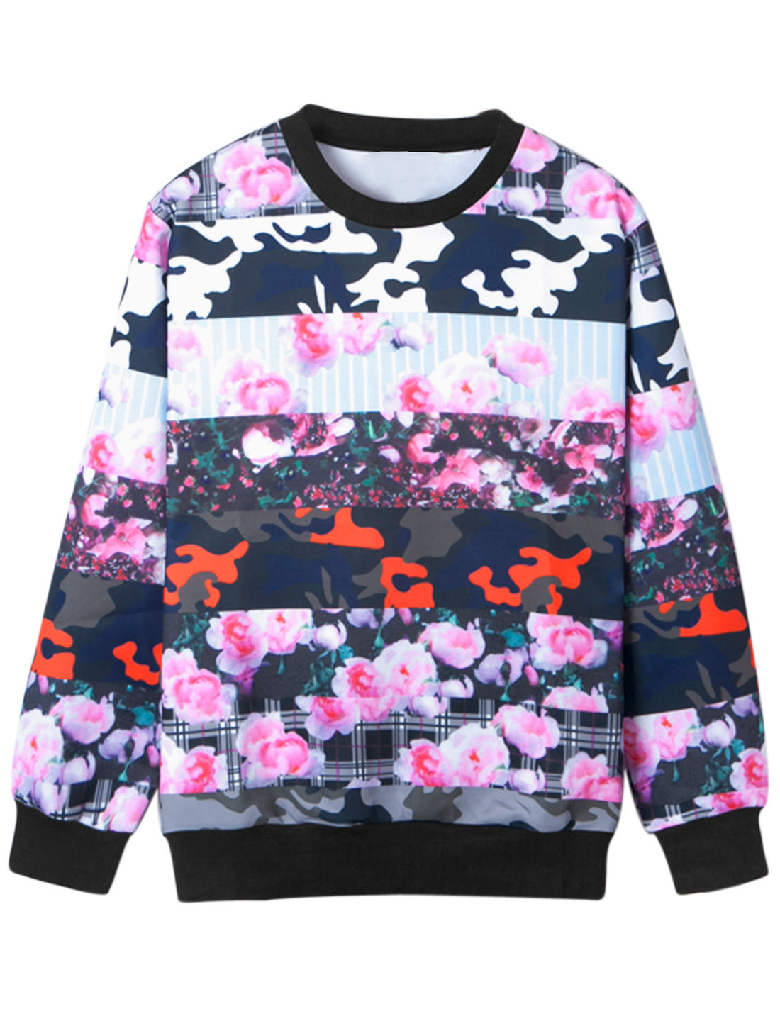 Men Round Neck Floral Camouflage Prints Sweatshirt Multicolor M
