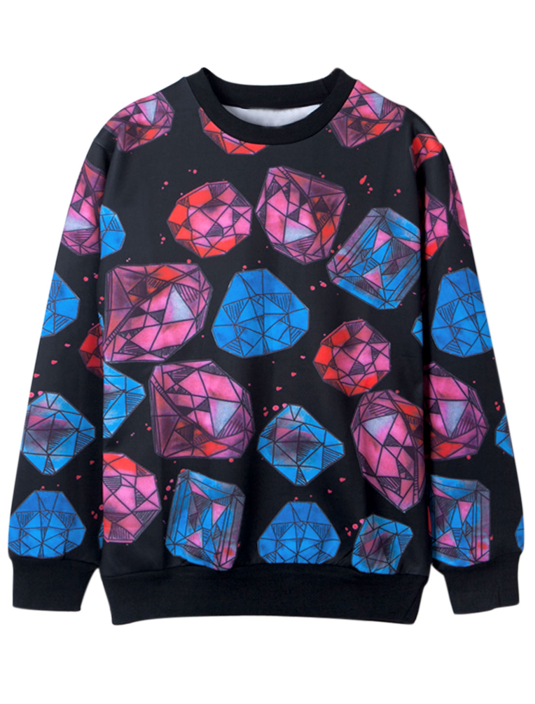 Men Pullover Long Sleeves All Over Diamond Print Stylish Sweatshirt Black M