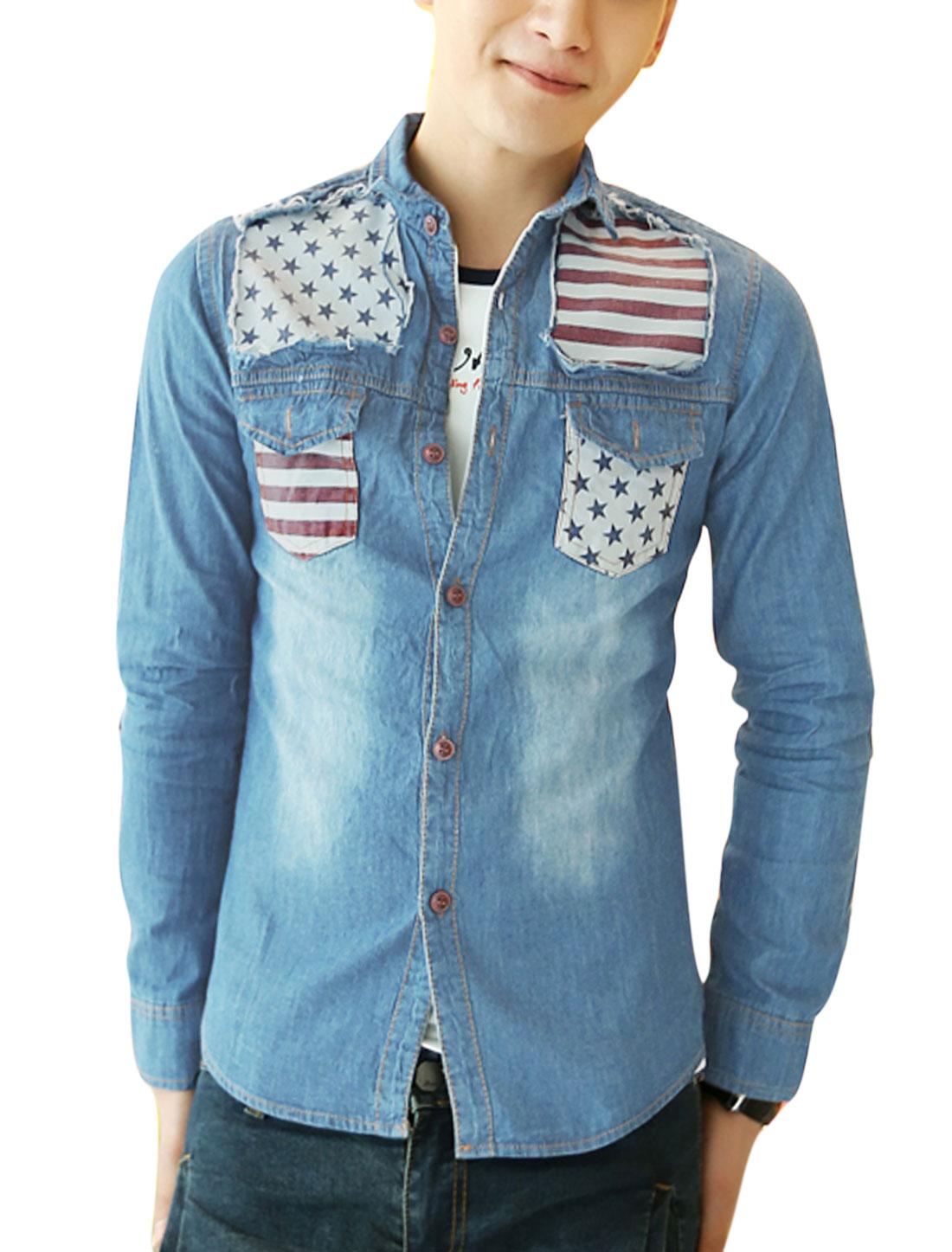 Men Button Closure Front Stars Stripes Panel Casual Shirt Light Blue S