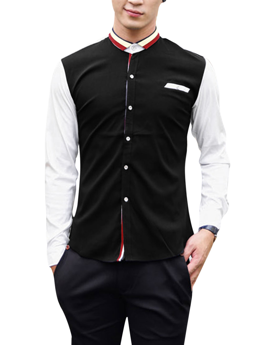 Men Stripes Ribbed Detail Contrast Long Sleeves Leisure Shirt Black M