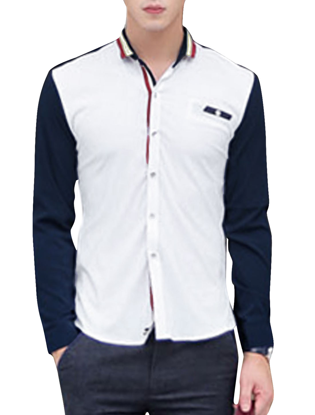 Men Convertible Collar Buttoned Cuffs Contrast Long Sleeves Leisure Shirt White M