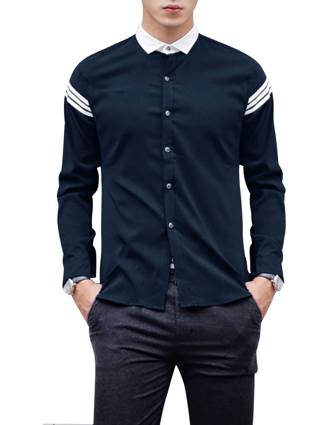 Men Point Collar Long Sleeve Single Breasted Round Hem Shirt Navy Blue M