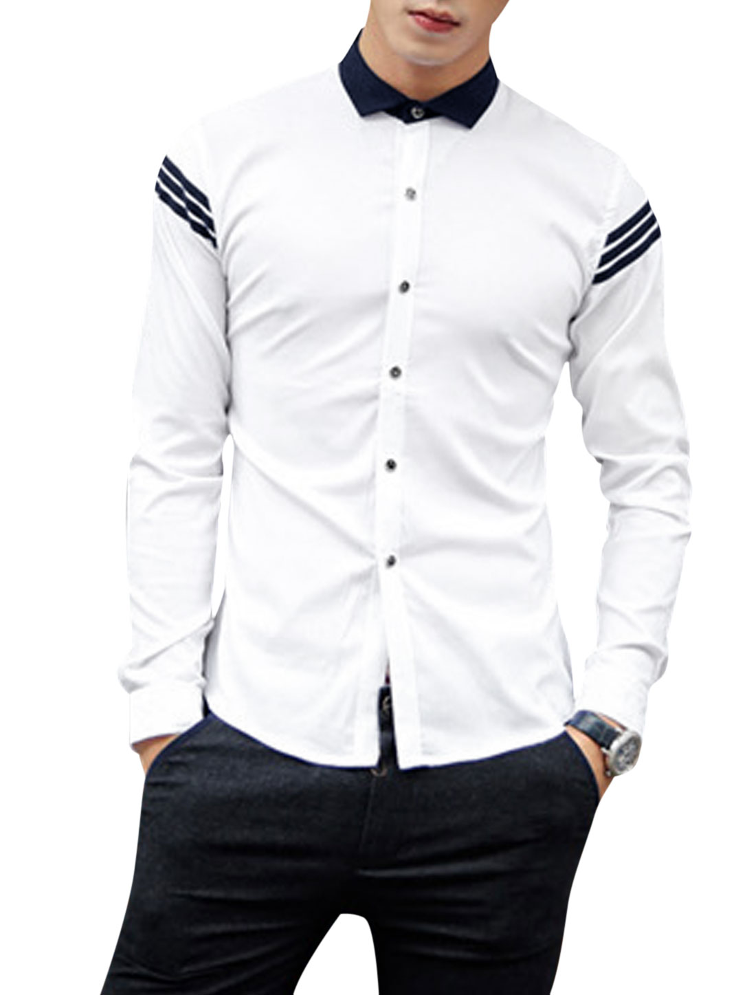 Men Point Collar Button Closure Front Round Hem Leisure Shirt White M