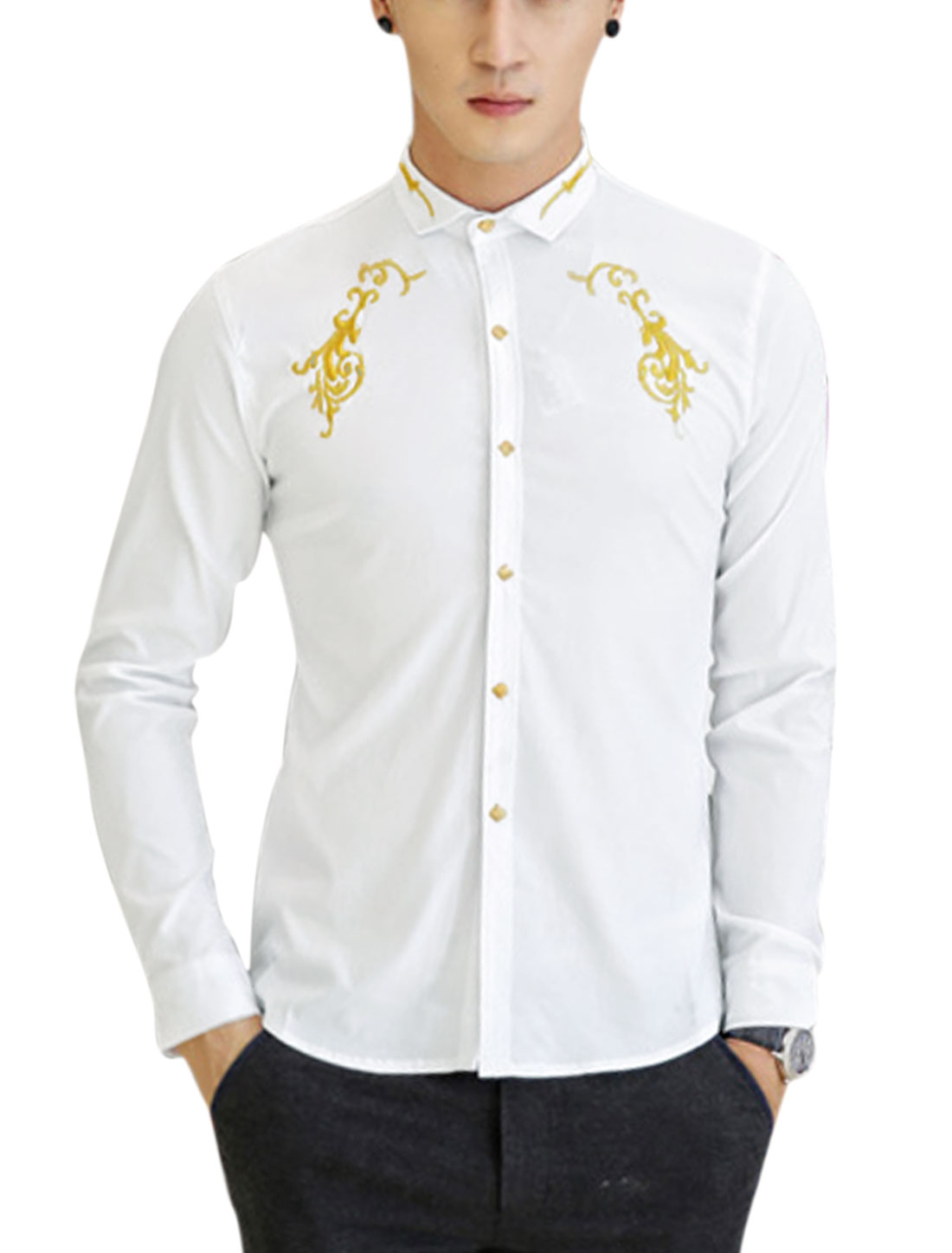 Men Button Closure Front Embroidery Detail Slim Casual Shirt White M
