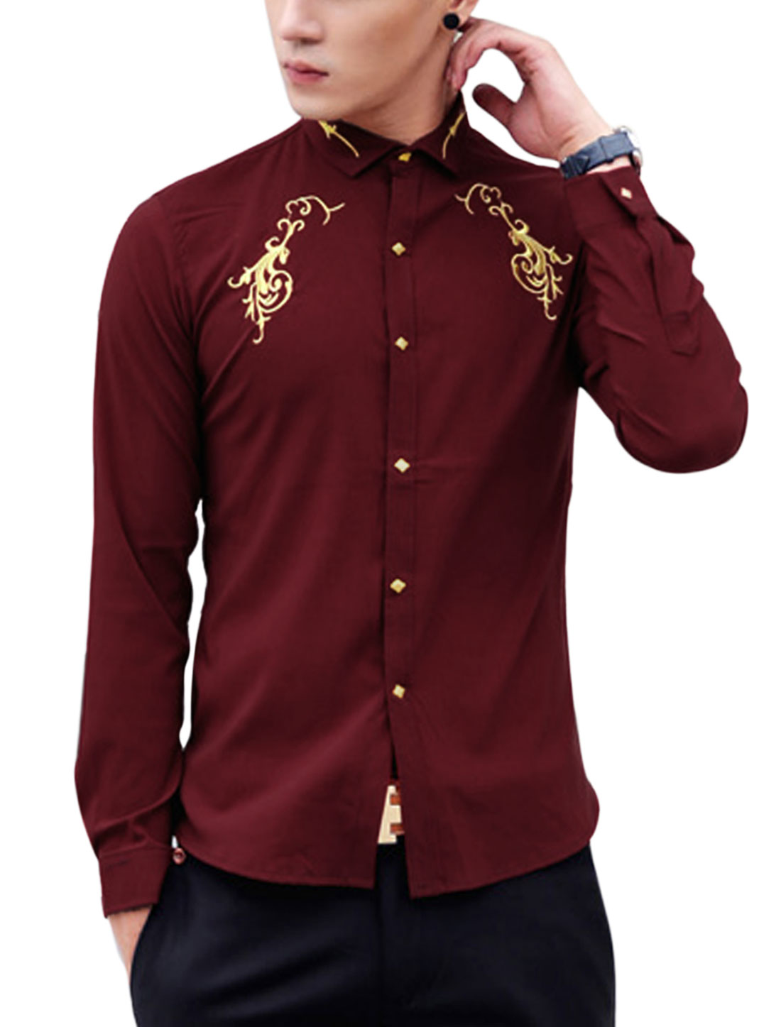 Men Point Collar Long Sleeve Button Closure Cuff Casual Shirt Burgundy M