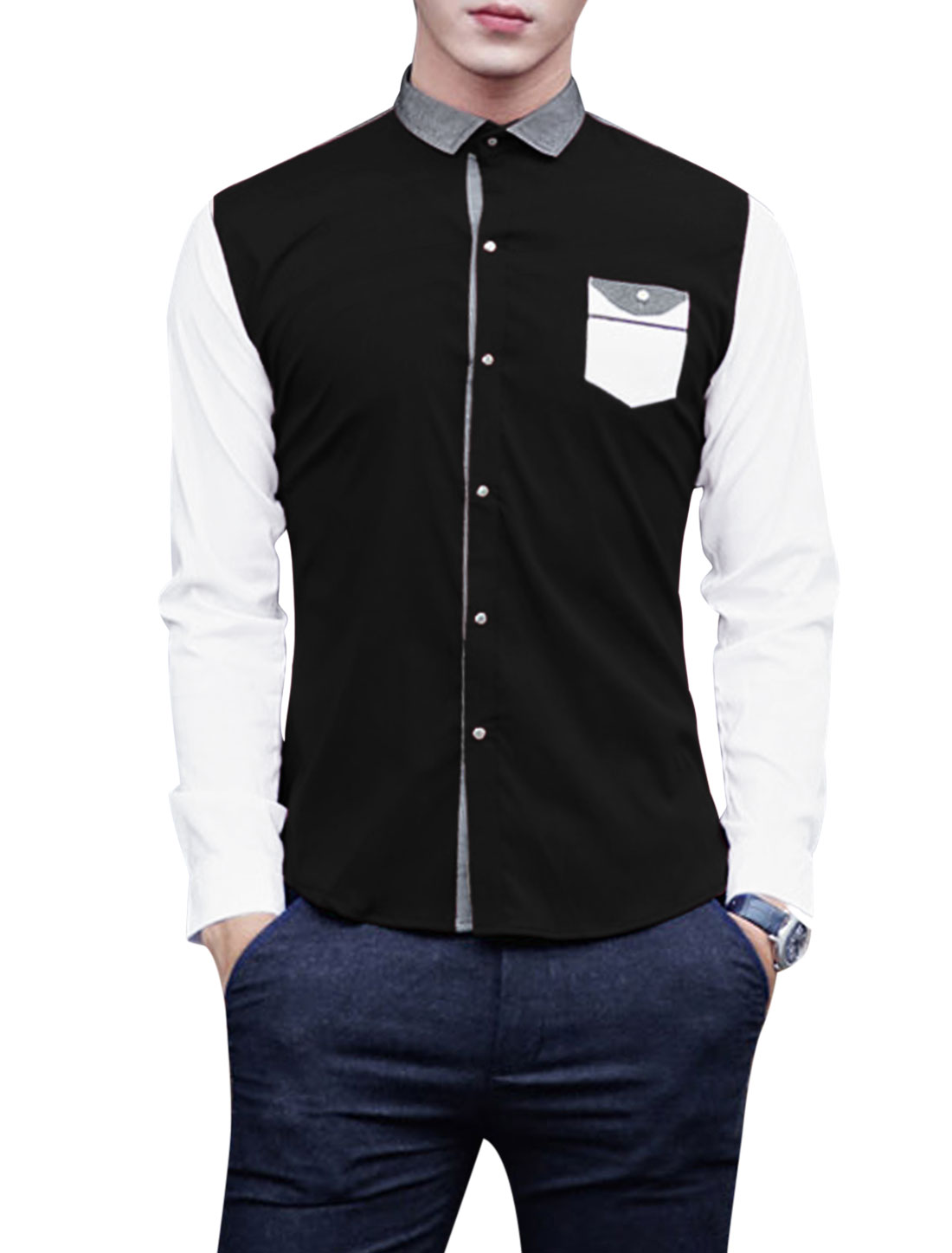 Men Contrast Long Sleeves Flap Chest Pocket Leisure Shirt Black M