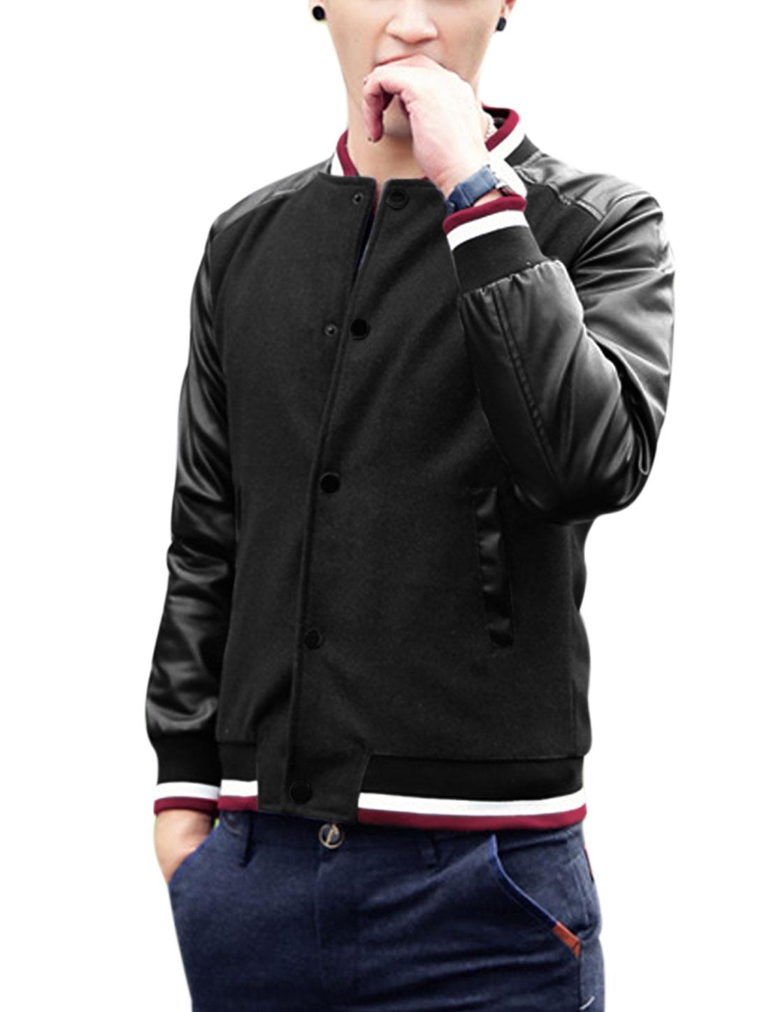 Man Rib Knit Collar Long Imitation Leather Sleeves Fashion Jacket Black M