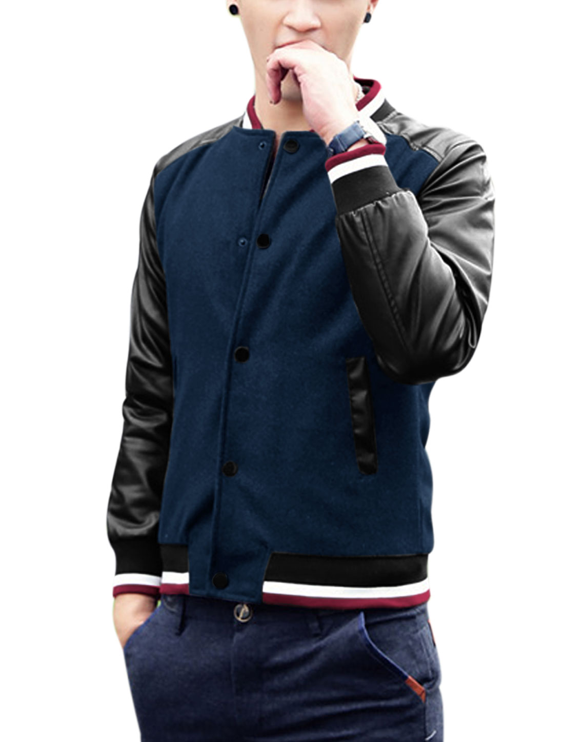 Man Rib Knit Collar Snap Buttons Closure Fashion Jacket Navy Blue M