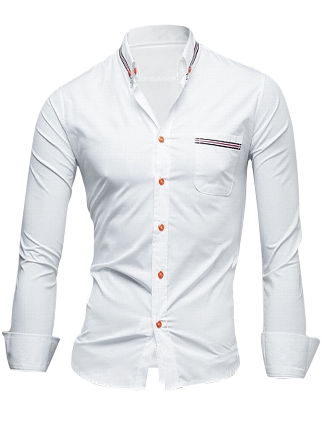 Leisure Convertible Collar Single Breasted Cozy Fit Shirt for Men White M