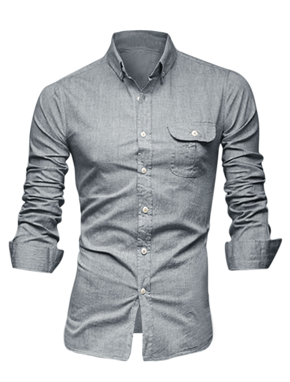 Men Point Collar Button Closure Front One Chest Pocket Casual Shirt Light Gray M