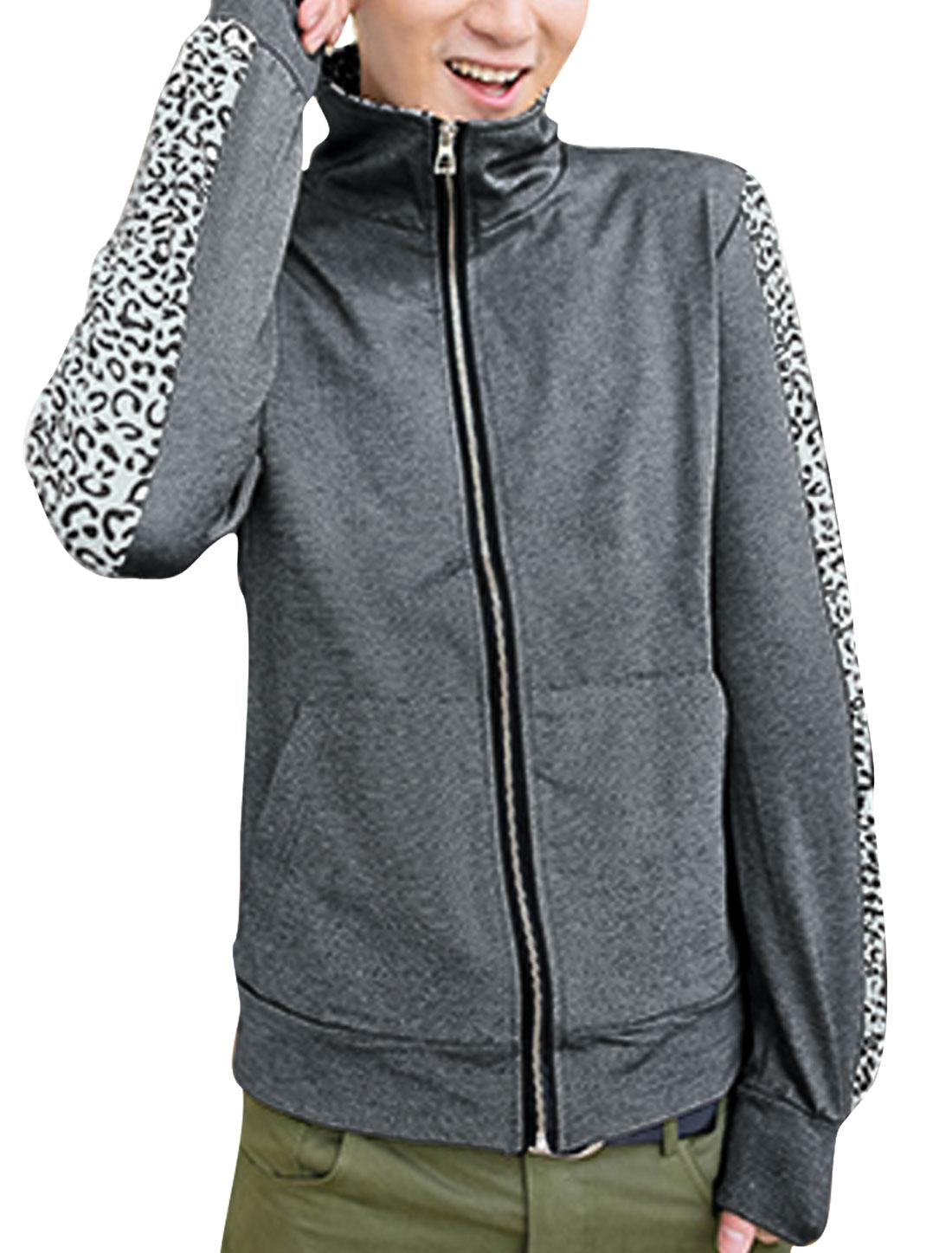 Men Leopard Print Long Sleeves Full Zip-Up Jacket Dark Gray M