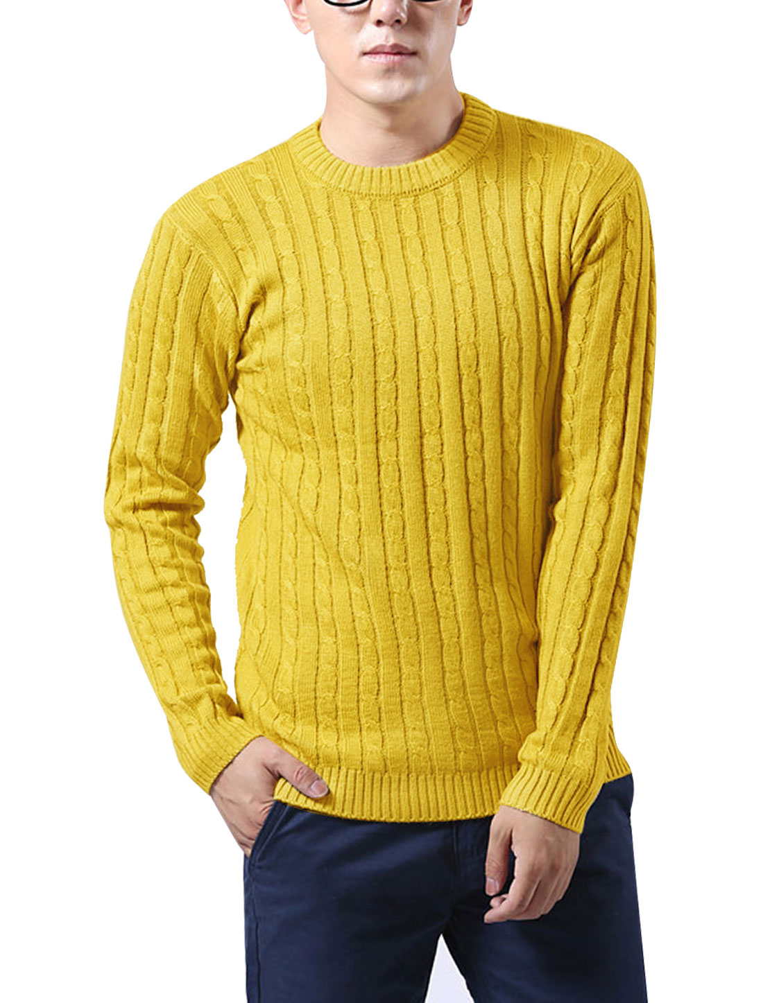 Men Korean Style Crew Neck Braided Casual Sweater Yellow S