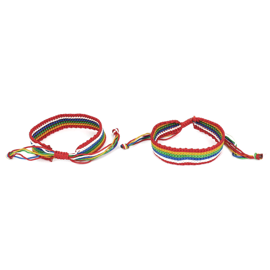 2 Pcs Multicolor Adjustable Knotted Braided Hand Rope Woven Bracelet for Ladies