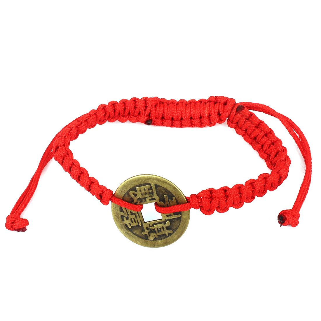 Red Handmade Adjustable Knotted Braided Rope Copper Coin Decor Wrist Bracelet