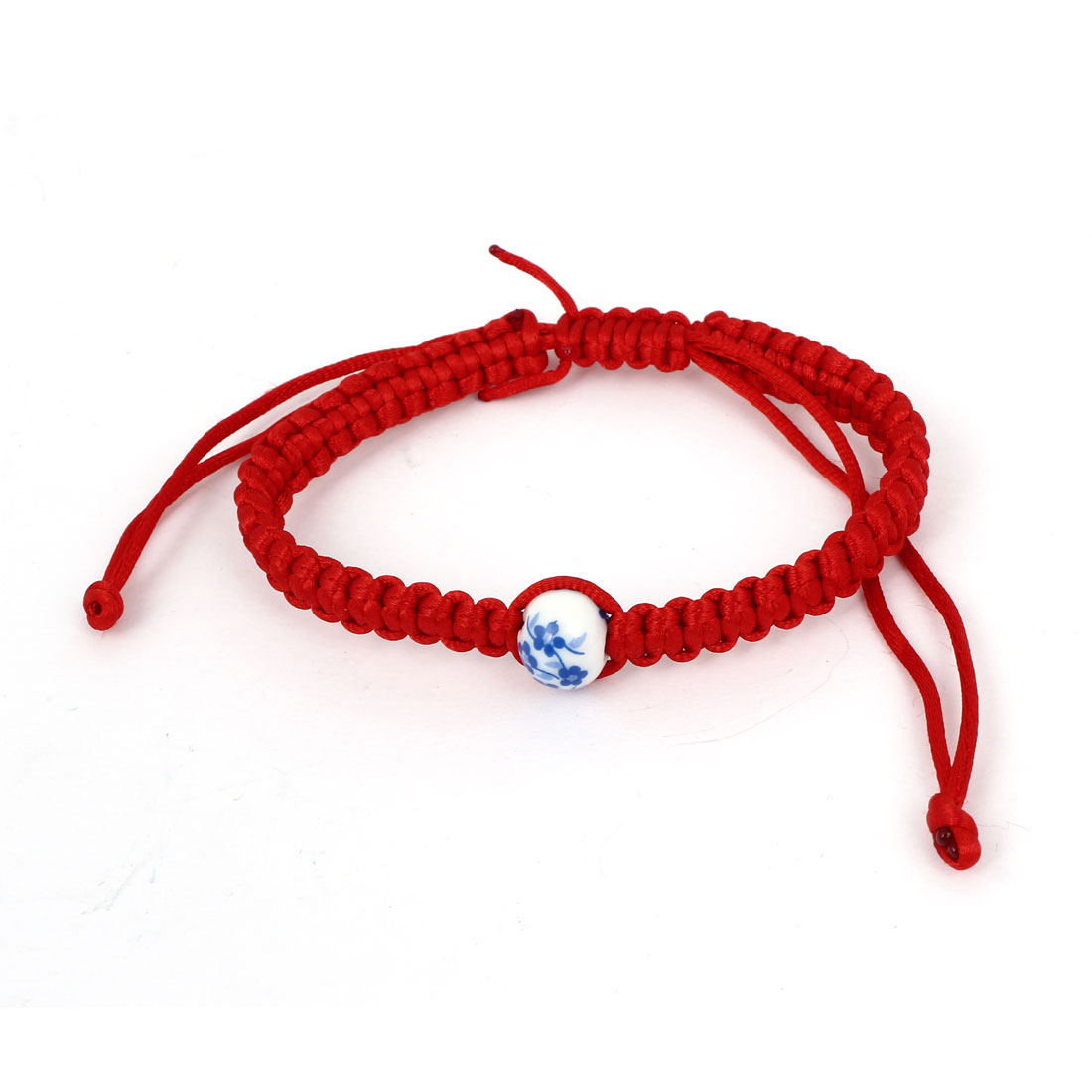 Adjustable Knotted Braided Hand Rope Cord Blue Porcelain Hand Bracelet