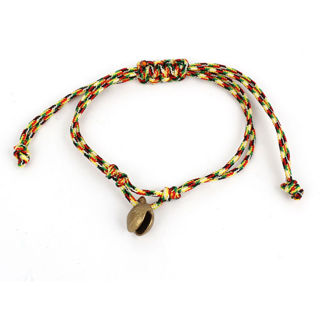 Colorful Adjustable Knotted Braided Bell Decor Hand Rope Bracelet for Ladies