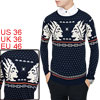 Men Geometric Portrait Pattern Ribbed Hem Knit Shirt Navy Blue S