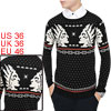 Men Pullover Geometric Portrait Pattern Casual Knit Shirt Black S