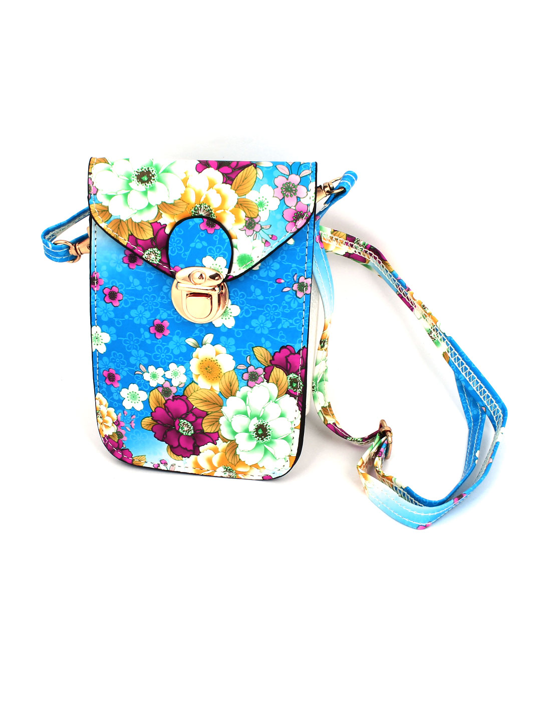 Lady Faux Leather 2 Compartments Flower Printed Push Lock Closure Cross-Body Bag Purse Blue