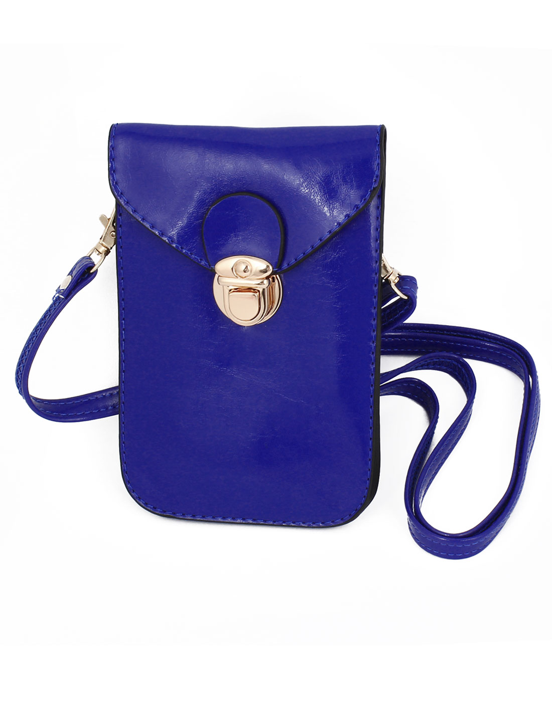 Ladies Faux Leather 2 Compartments Push Lock Closure Cross-Body Bag Purse Blue
