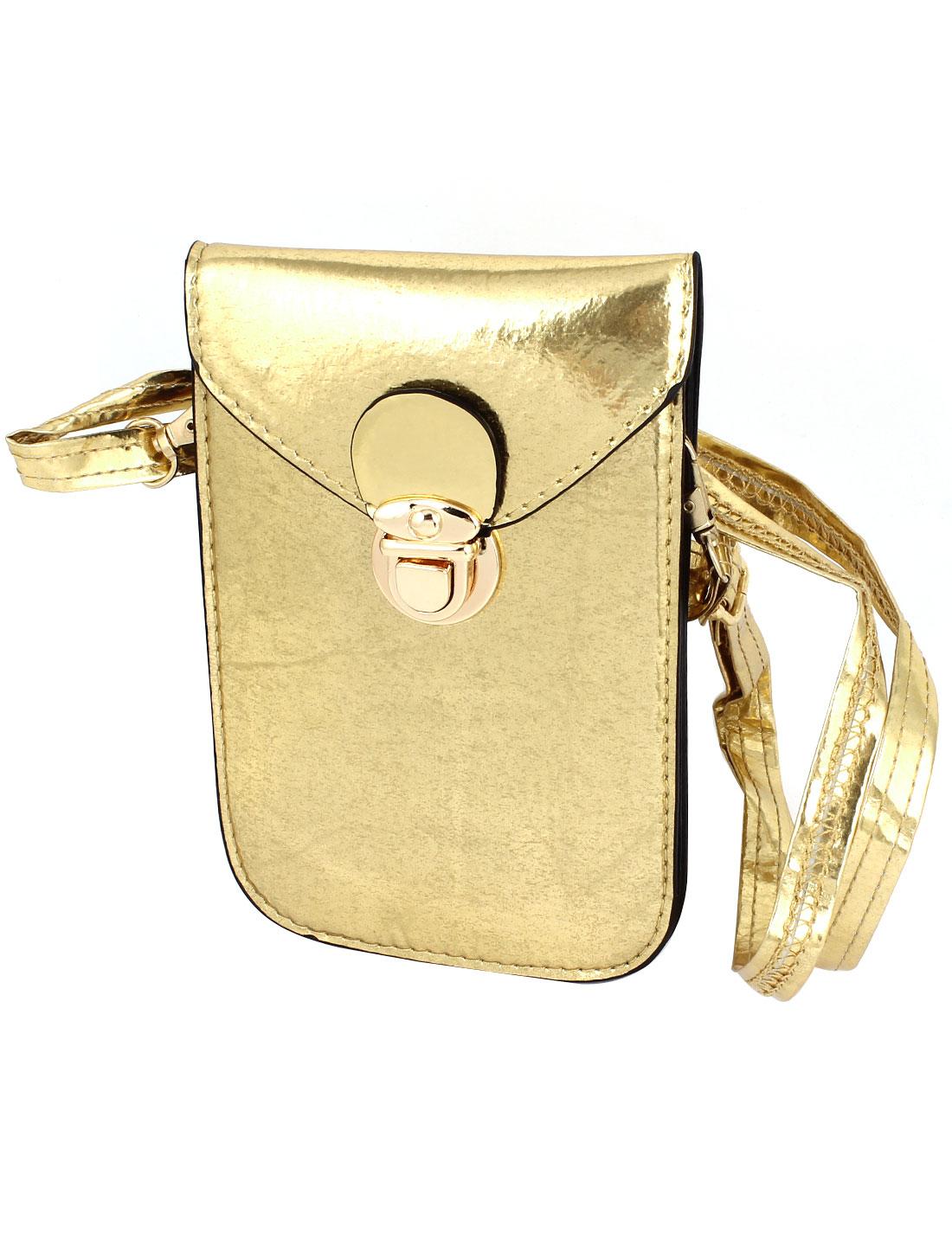 Ladies Faux Leather 2 Compartments Push Lock Closure Cross-Body Bag Purse Gold Tone