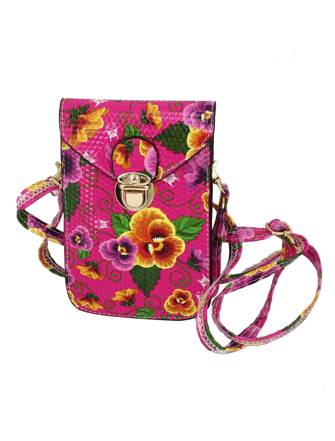 Ladies Faux Leather 2 Compartments Flower Printed Push Lock Closure Cross-Body Bag Purse Fuchsia