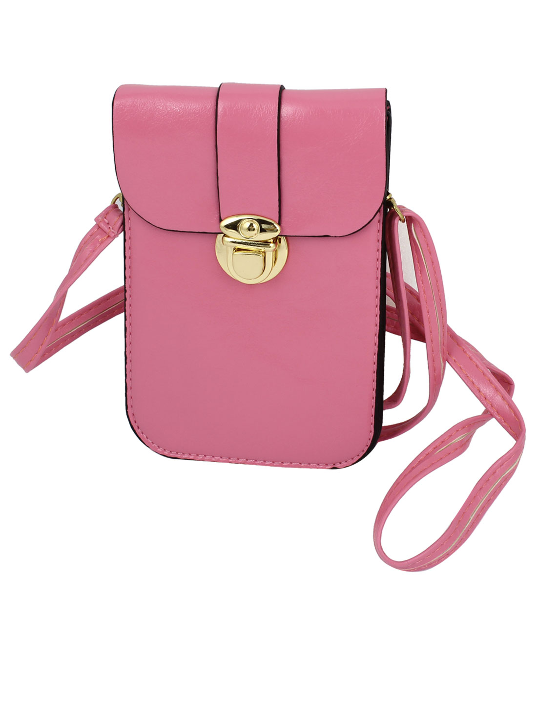 Ladies Faux Leather 2 Compartments Push Lock Closure Cross-Body Bag Purse Pink