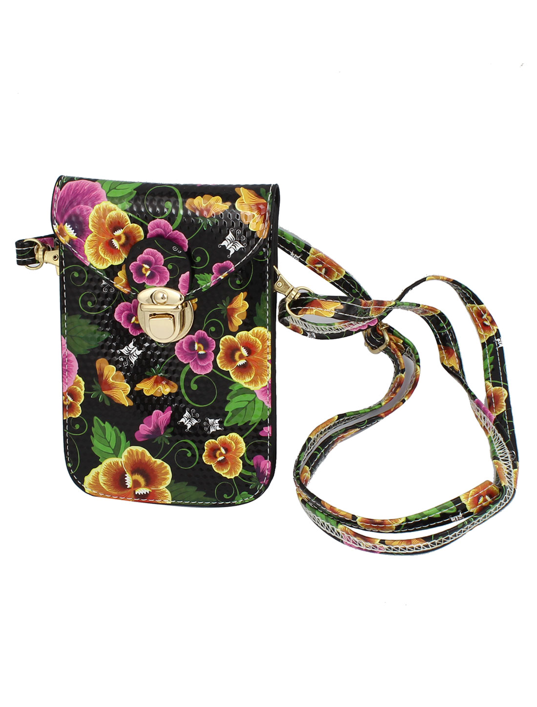 Ladies Faux Leather 2 Compartments Flower Printed Push Lock Closure Cross-Body Bag Purse Black