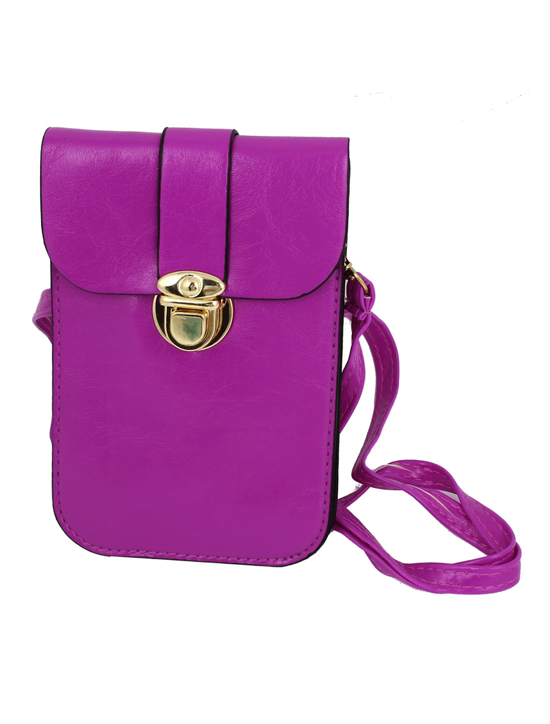 Ladies Faux Leather 2 Compartments Push Lock Closure Cross-Body Bag Purse Fuchsia