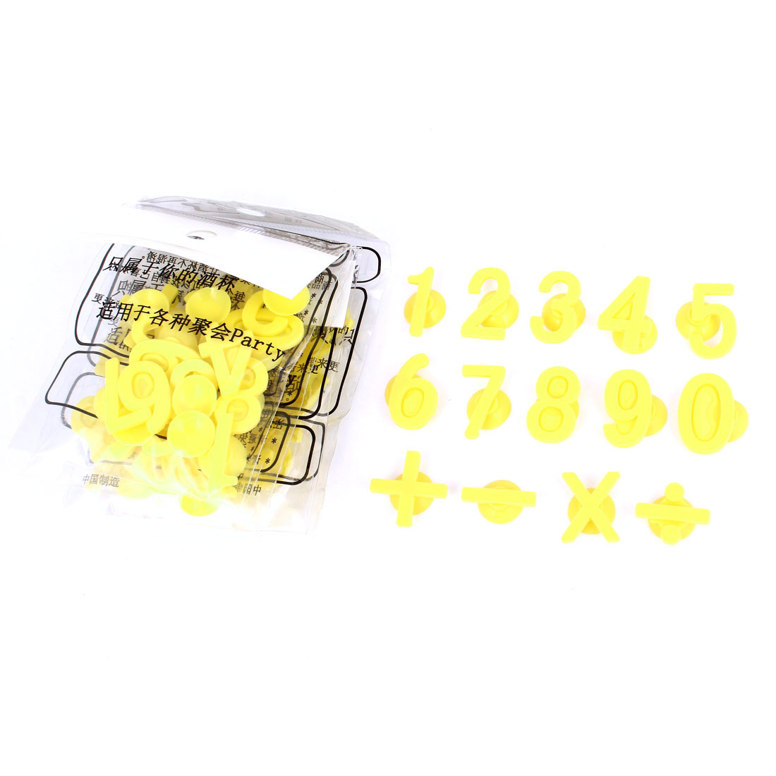 Yellow Plus Number Design Suction Cup Wine Glass Drink Markers Tag Charms 70pcs