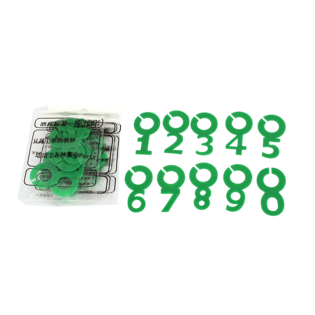 Green Arabic Number Shaped Identify Cup Wine Glasses Drink Markers 50pcs