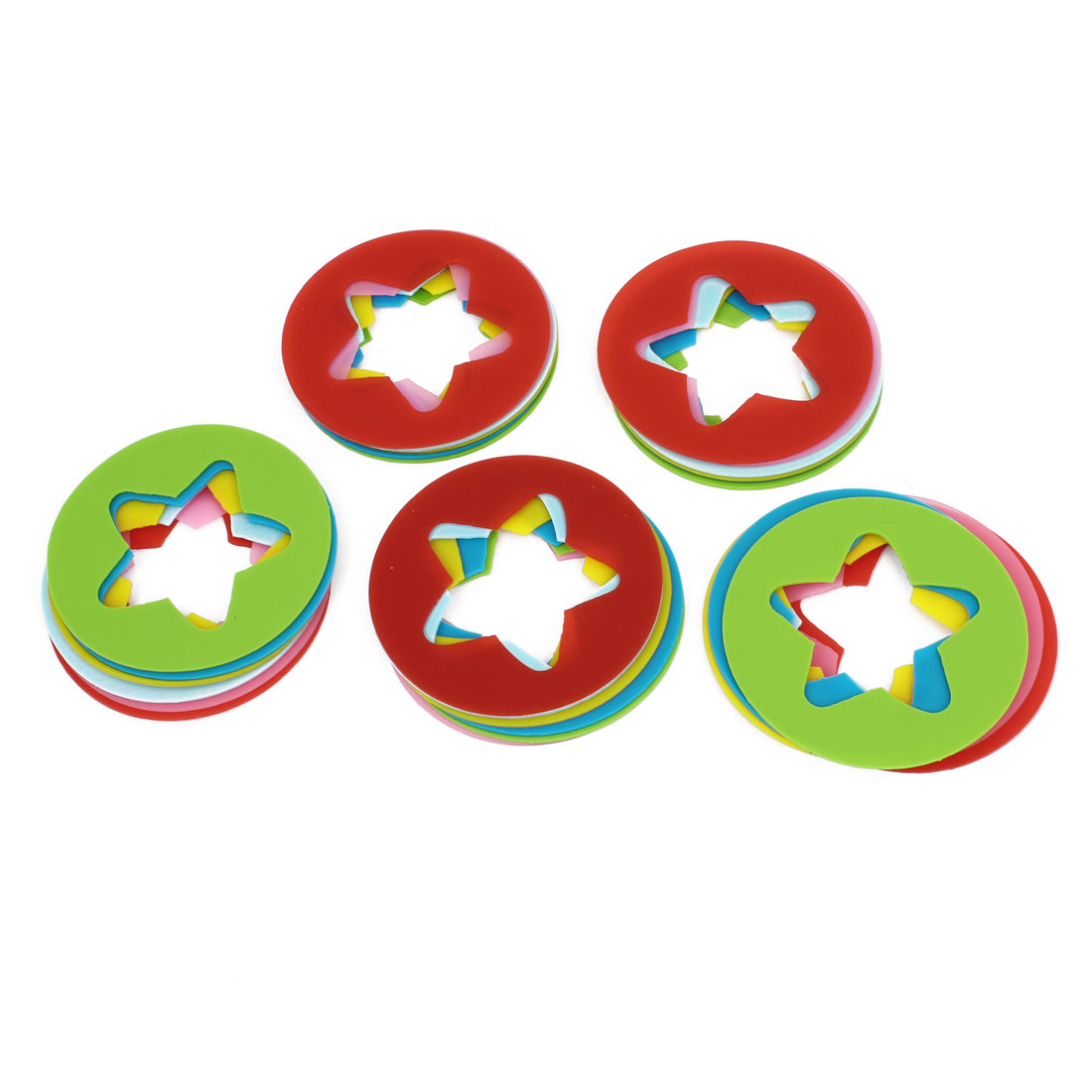 Assorted Color Silicone Round Star Identify Cup Wine Glasses Drink Markers 30pcs