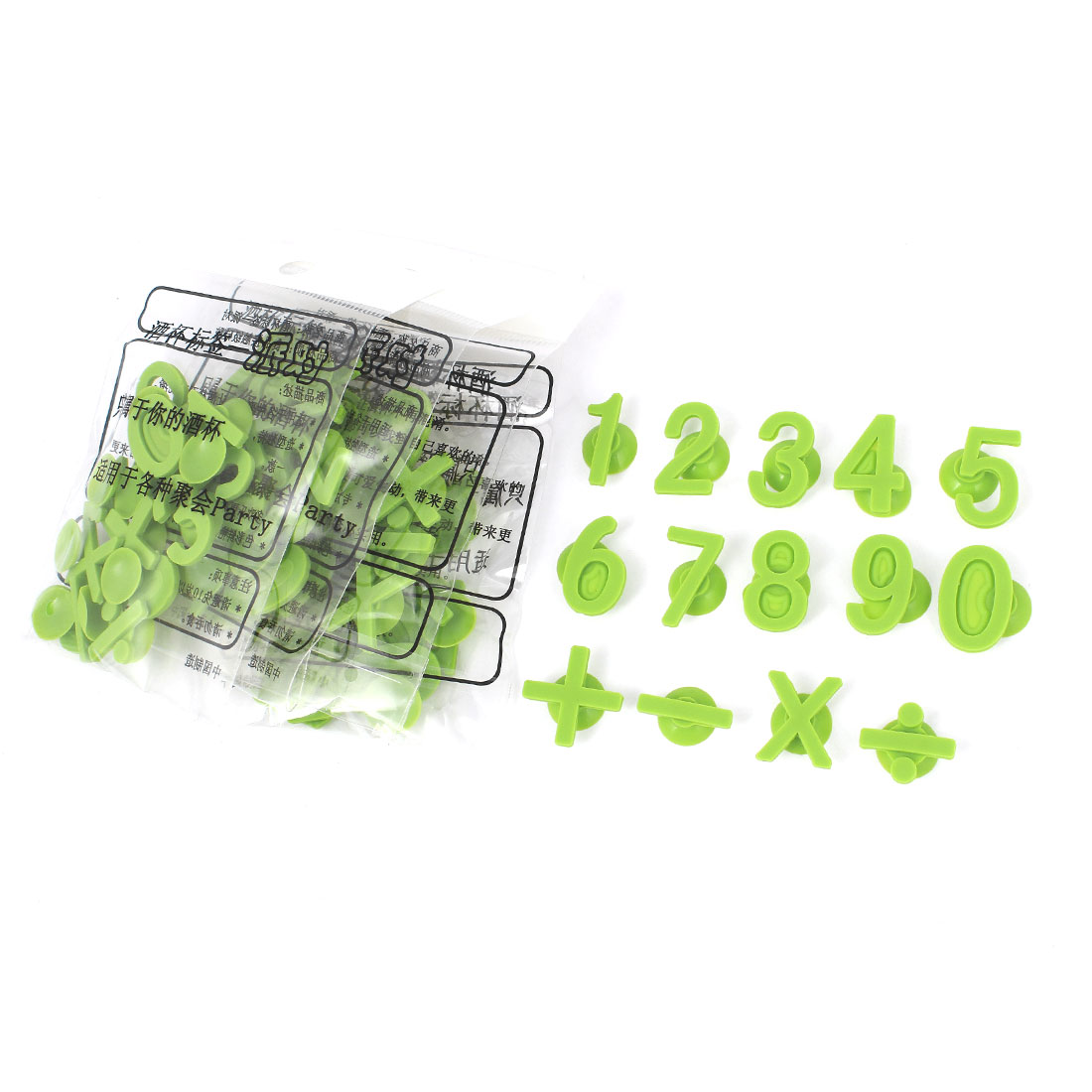 Green Minus Number Shape Suction Cup Identify Wine Glasses Drink Markers 70pcs