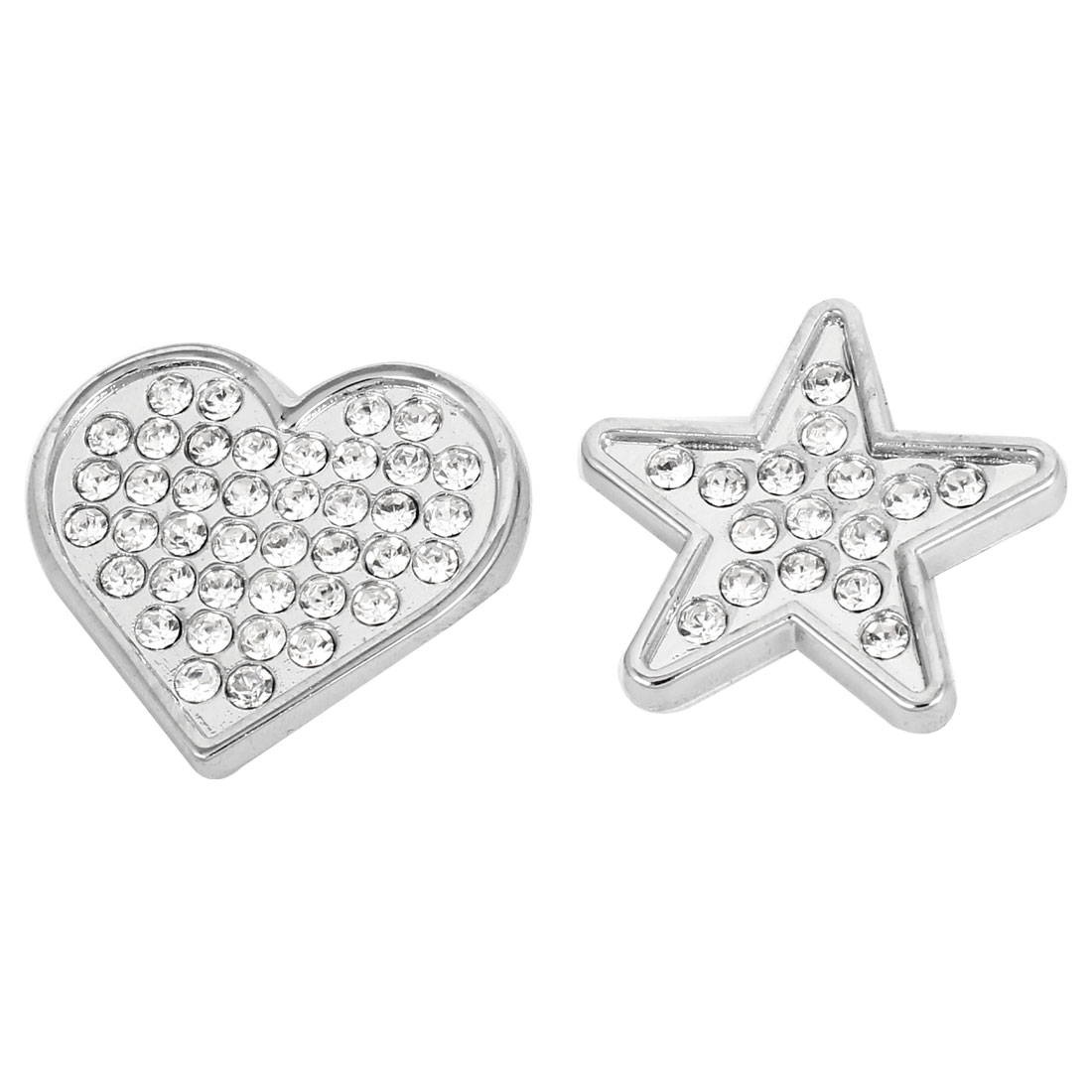 2 Pcs Car Decor Silver Tone Self Adhesive Rhinestone Star Heart Shaped Stickers