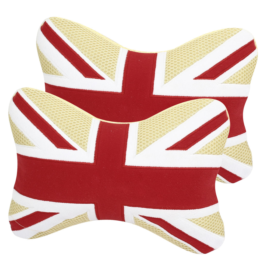 Pair Beige Flag Pattern Neck Headrest Car Cushion Plaid Pillow for Auto Car