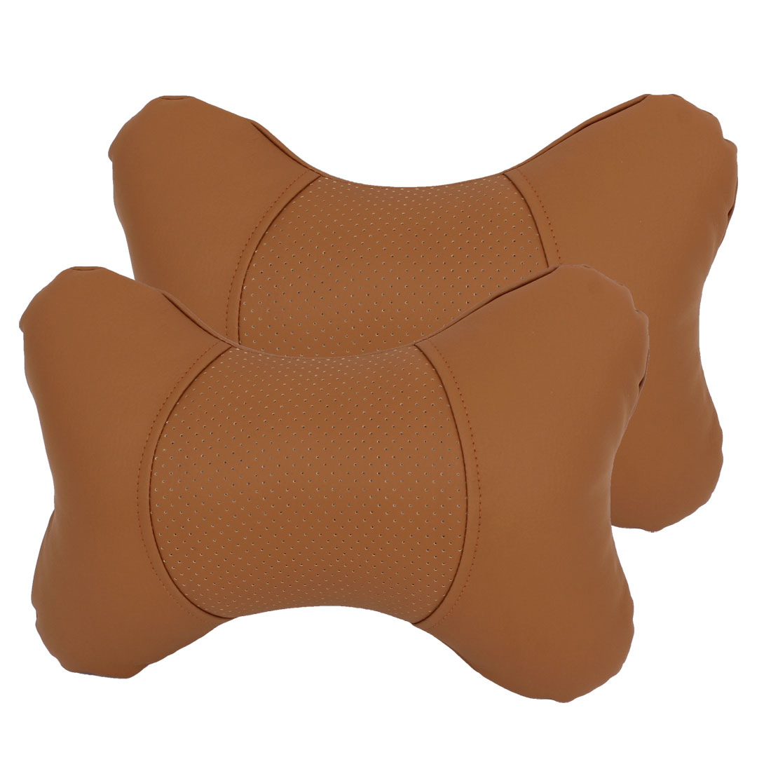 2 Pcs Brown Faux Leather Elastic Band Pillow Neck Rest Cushion