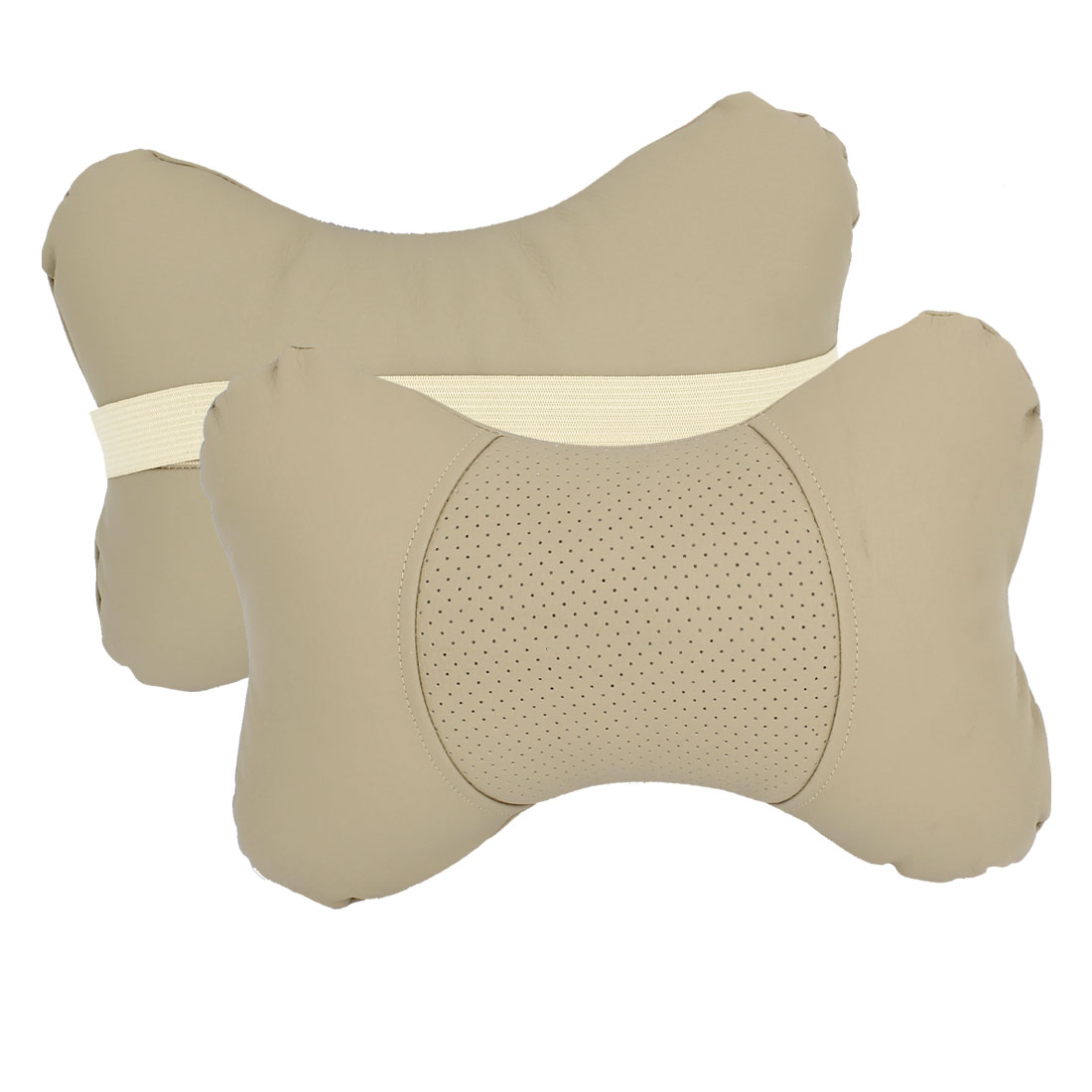 2 Pcs Beige Faux Leather Stretchy Band Head Neck Rest Pilows for Car