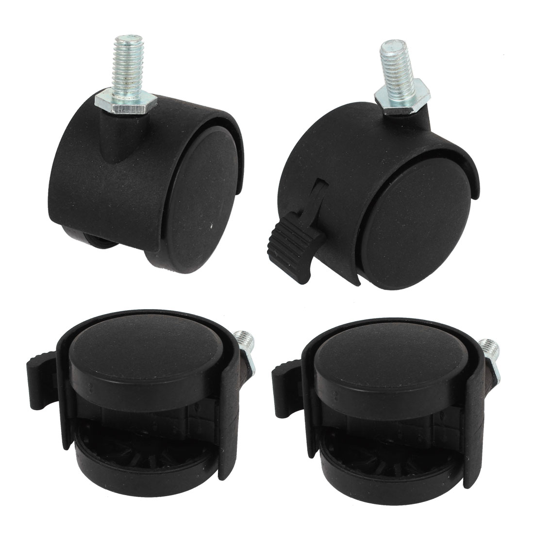 "Black 8mm Screwstem 1.5"" Dia Wheel 360 Degree Rotation Swivel Lock Caster 4 Pcs"