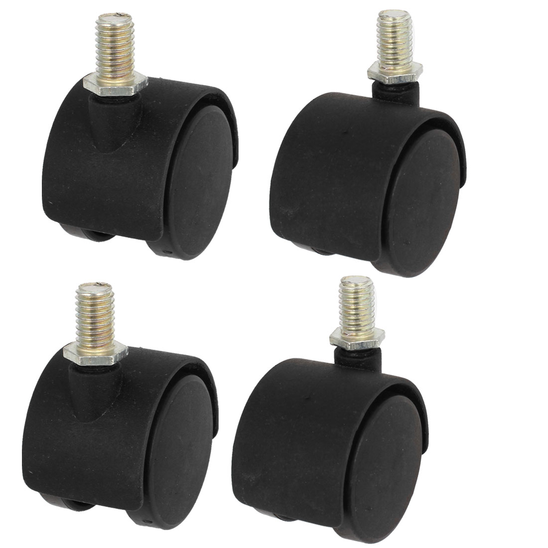 "Plastic 10mm Screw Stem 1.5"" Dia Dual Wheel Furniture Swivel Caster Black 4 Pcs"